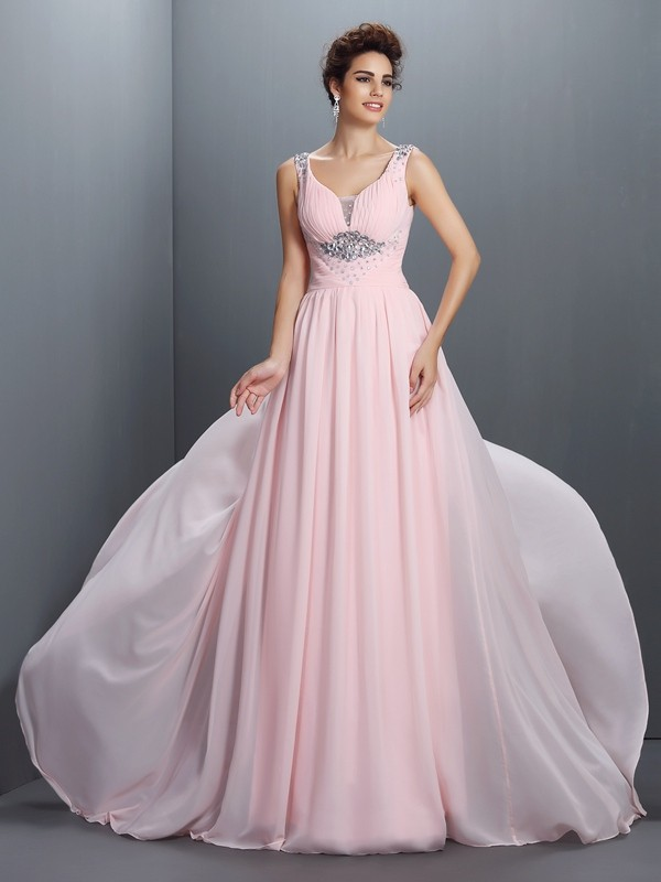 A-Line/Princess Straps Sleeveless Sweep/Brush Train Chiffon Prom Dresses with Beading
