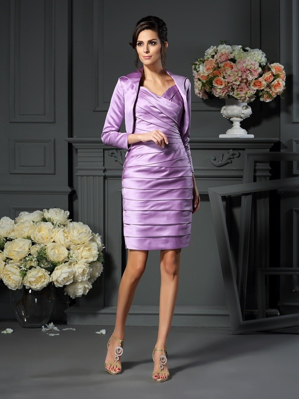 Sheath/Column Sleeveless Straps Satin Knee-length Mother of the Bride Dresses with Ruched