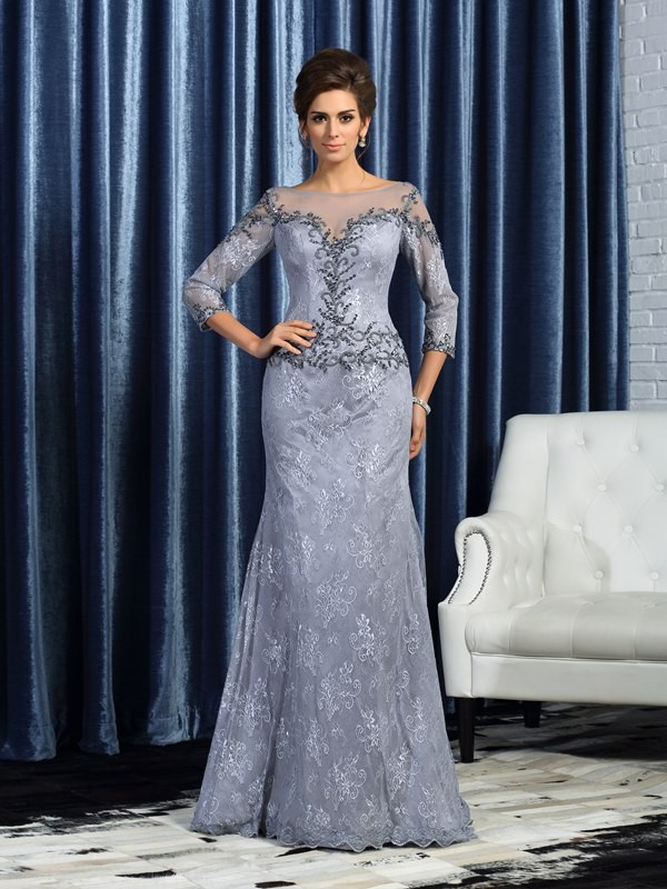 Trumpet/Mermaid Bateau 3/4 Sleeves Lace Sweep/Brush Train Mother of the Bride Dresses with Beading