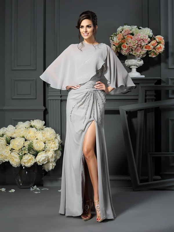 Trumpet/Mermaid One-Shoulder Sleeveless Chiffon Floor-Length Mother of the Bride Dresses with Beading