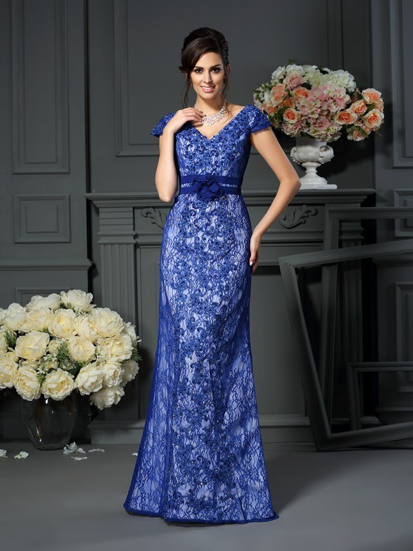 Trumpet/Mermaid Short Sleeves V-neck Satin Floor-Length Dresses with Applique with Beading