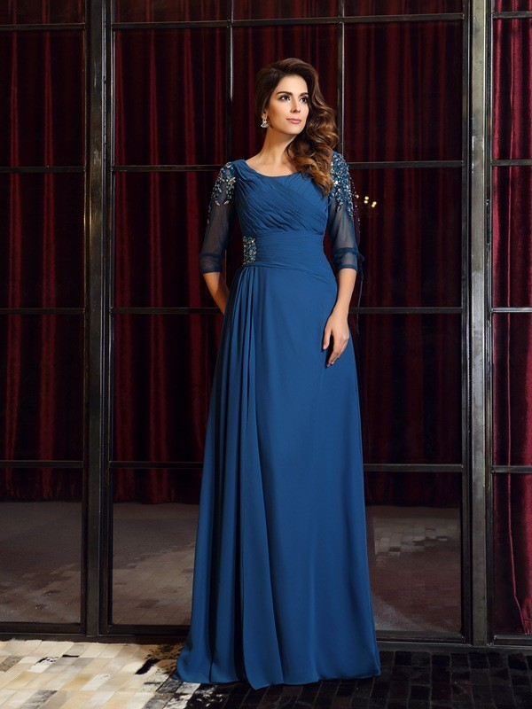 A-Line/Princess 1/2 Sleeves Square Chiffon Floor-Length Dresses with Ruched