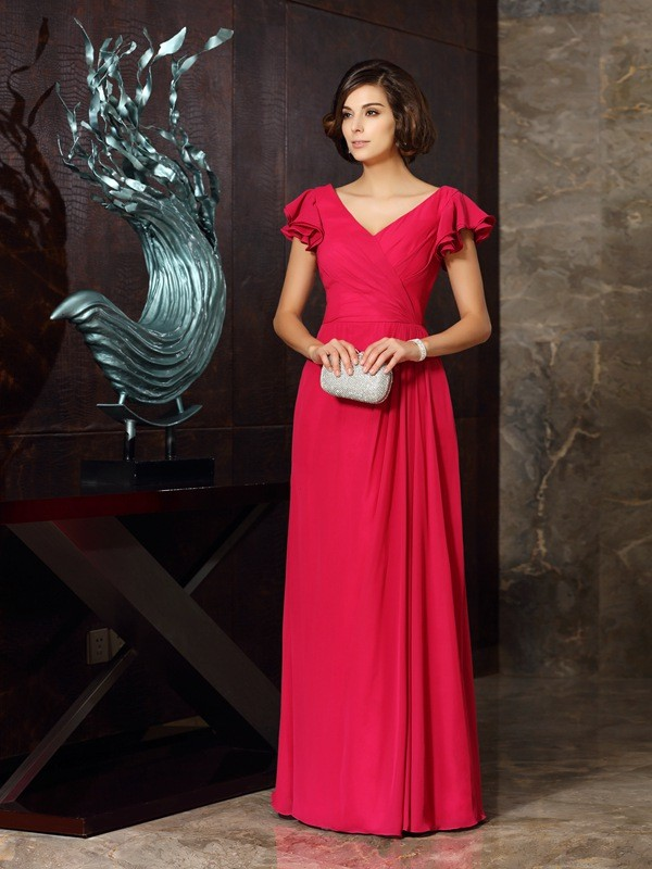 A-Line/Princess V-neck Short Sleeves Chiffon Long Dresses with Ruched