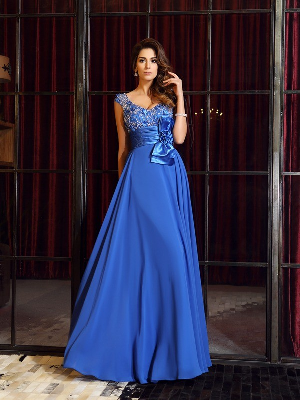 A-Line/Princess Sleeveless Straps Chiffon Floor-Length Dresses with Hand-Made Flower