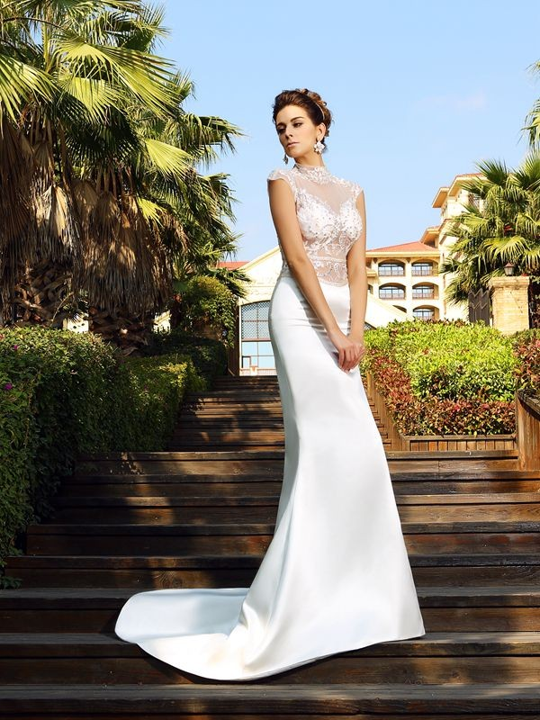 Trumpet/Mermaid High Neck Sleeveless Court Train Satin Dresses with Beading