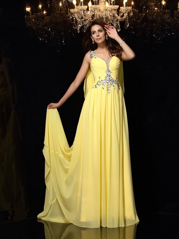 A-Line/Princess Straps Sleeveless Chiffon Court Train Prom/Evening Dresses with Beading