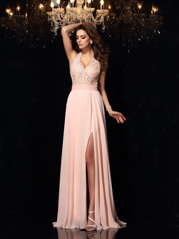 A-Line/Princess Halter Sleeveless Lace Sweep/Brush Train Chiffon Prom/Evening Dresses