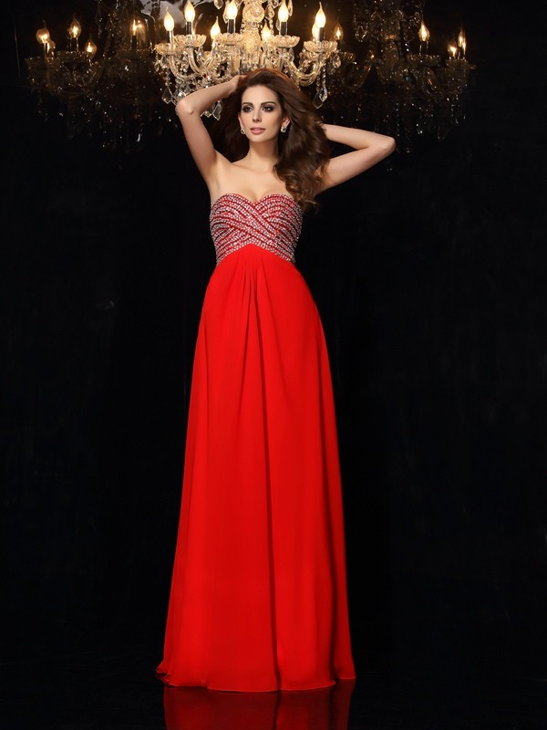 A-Line/Princess Sweetheart Sleeveless Chiffon Floor-Length Prom/Evening Dresses with Beading