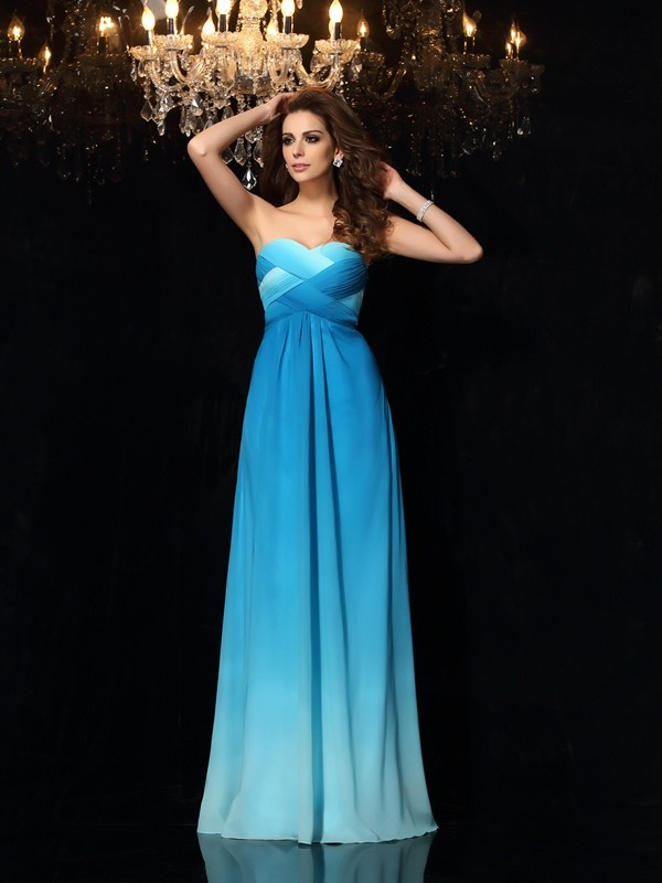 A-Line/Princess Sleeveless Sweetheart Chiffon Floor-Length Prom Dresses with Ruched