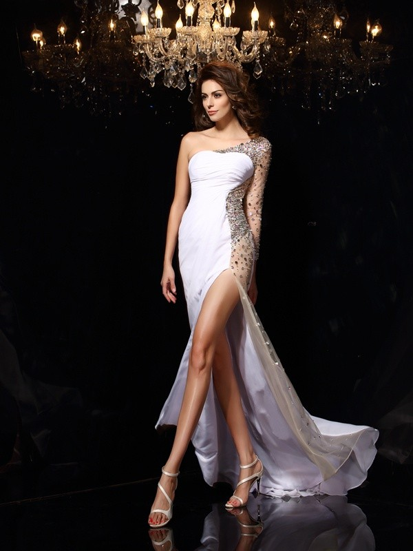 Sheath/Column One-Shoulder Long Sleeves Sweep/Brush Train Chiffon Prom/Evening Dresses with Beading
