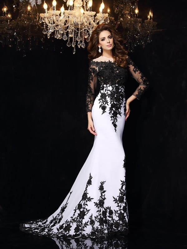 Sheath/Column Long Sleeves Scoop Chiffon Sweep/Brush Train Dresses with Lace