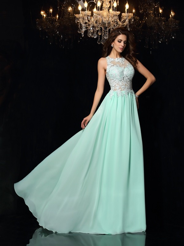 A-Line/Princess High Neck Sleeveless Chiffon Sweep/Brush Train Prom/Evening Dresses with Applique