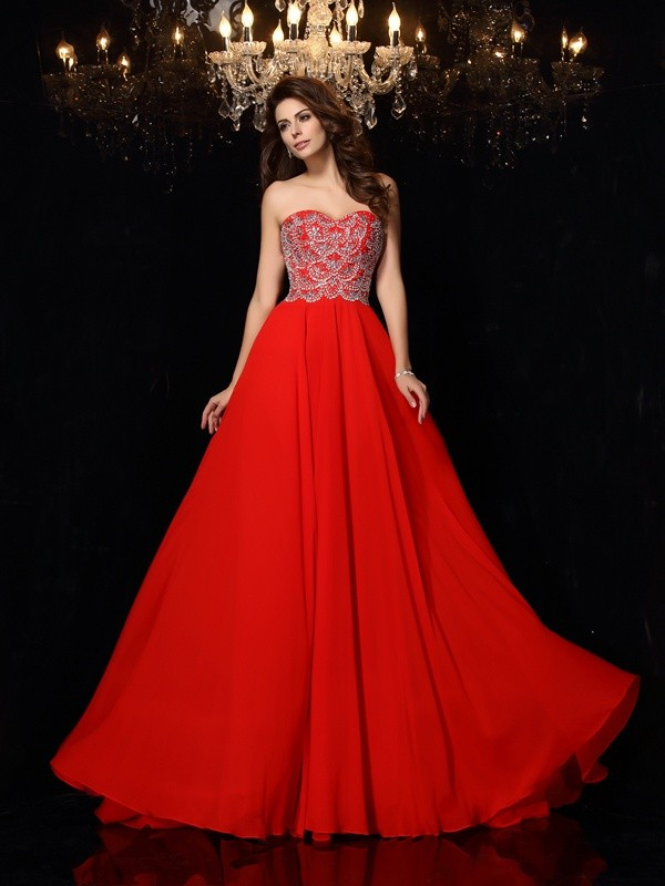 A-Line/Princess Sweetheart Sleeveless Chiffon Sweep/Brush Train Prom/Evening Dresses with Beading