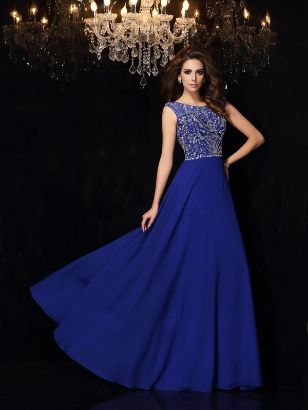 A-Line/Princess Scoop Sleeveless Floor-Length Chiffon Prom Dresses with Beading