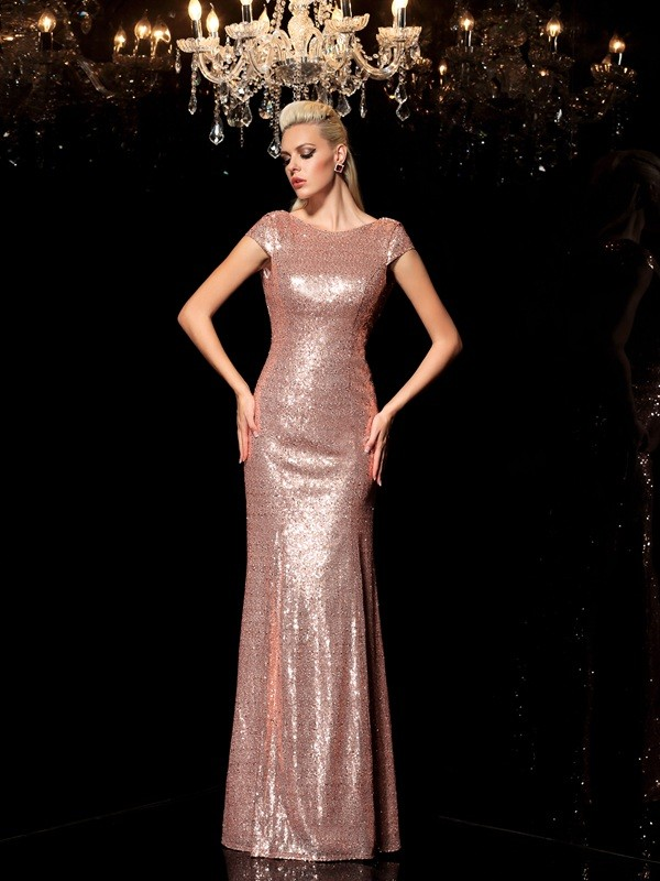 Sheath/Column Scoop Sleeveless Floor-Length Sequins Evening Dress with Sequin