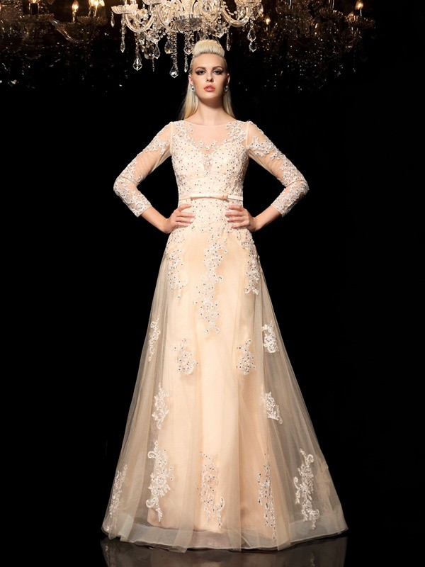 A-Line/Princess Sheer Neck Long Sleeves Floor-Length Satin Evening Dress with Applique