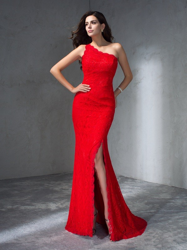 Trumpet/Mermaid One-Shoulder Sleeveless Sweep/Brush Train Prom Dress with Lace
