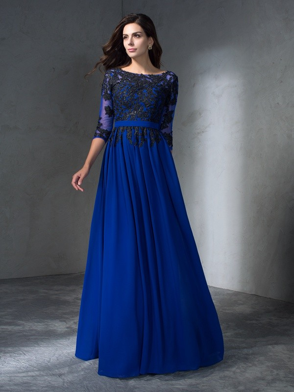 A-Line/Princess Scoop 3/4 Sleeves Floor-Length Chiffon Prom Dress with Applique