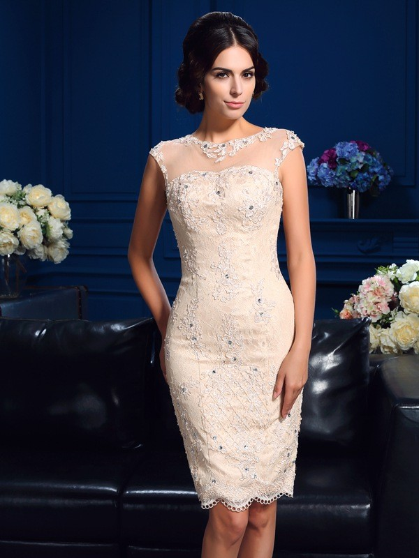 Sheath/Column Sheer Neck Sleeveless Short/Mini Mother Of The Bride Dress with Lace
