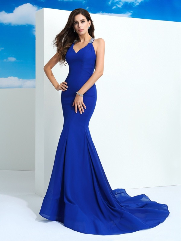 Sheath/Column Straps Sleeveless Court Train Chiffon Prom Dress with Beading