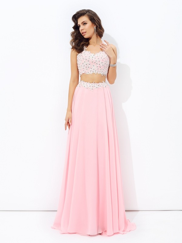 A-Line/Princess Straps Sleeveless Floor-Length Chiffon Prom Dress with Applique