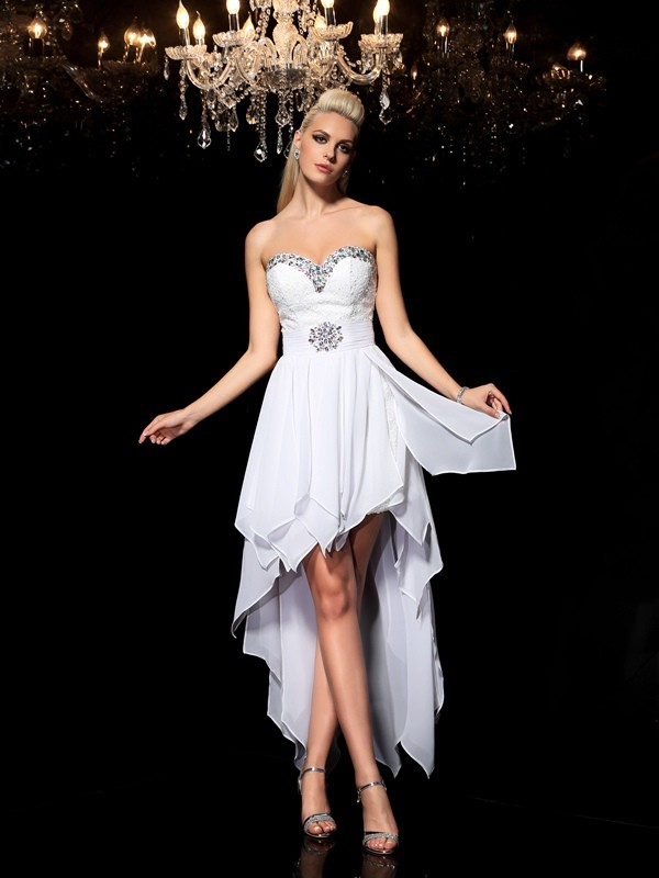 A-Line/Princess Sweetheart Sleeveless Asymmetrical Chiffon Cocktail Dress with Beading