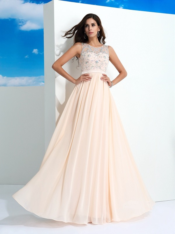A-Line Sheer Neck Chiffon Long Prom Dress with Beading