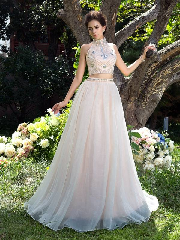 A-Line/Princess Sleeveless High Neck Net Sweep/Brush Train Two Piece Prom Dress with Beading