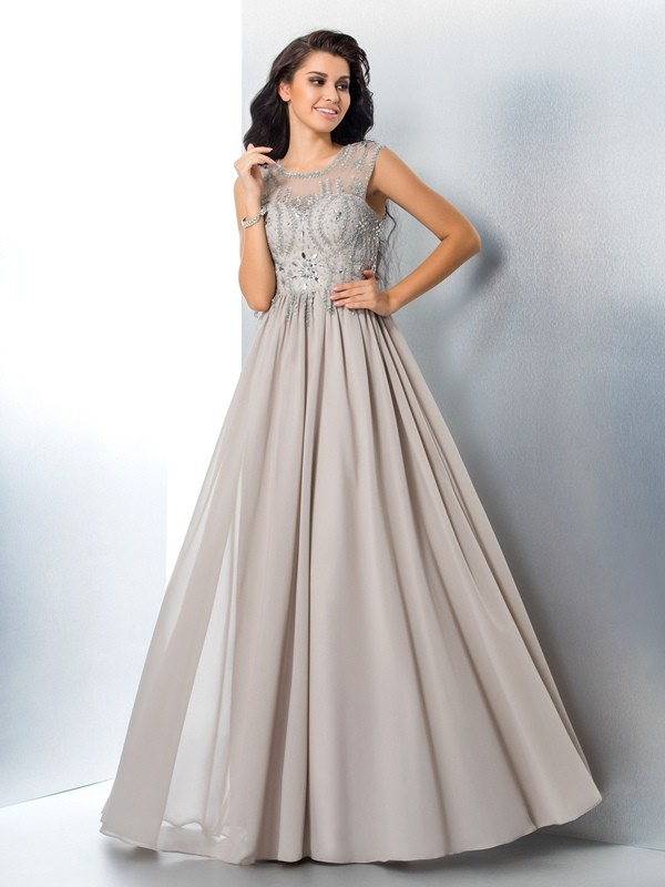 A-Line Sheer Neck Chiffon Floor-Length Prom Dress with Beading