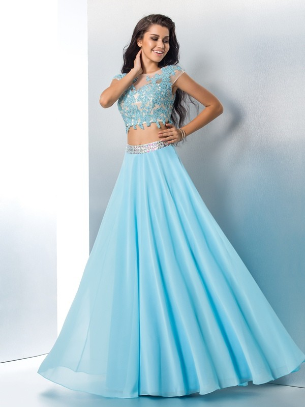 A-Line/Princess Short Sleeves Sheer Neck Chiffon Floor-Length Two Piece Prom Dress with Applique