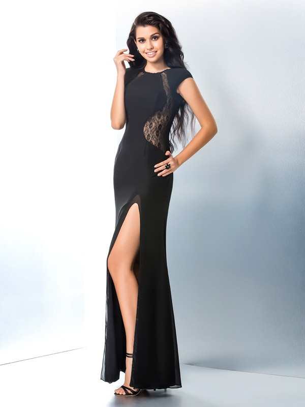 Sheath/Column Scoop Short Sleeves Chiffon Ankle-Length Prom Dress with Lace