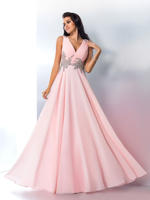 A-Line/Princess V-neck Chiffon Floor-Length Prom Dress with Beading