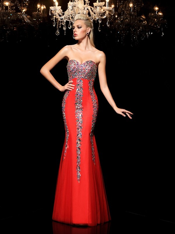 Sheath/Column Sweetheart Sleeveless Floor-Length Net Prom Dress with Rhinestone