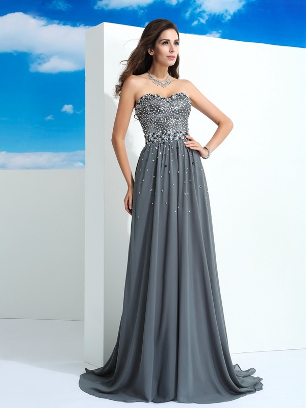 Sweetheart Sleeveless Sweep/Brush Train Chiffon Prom Dress with Beading