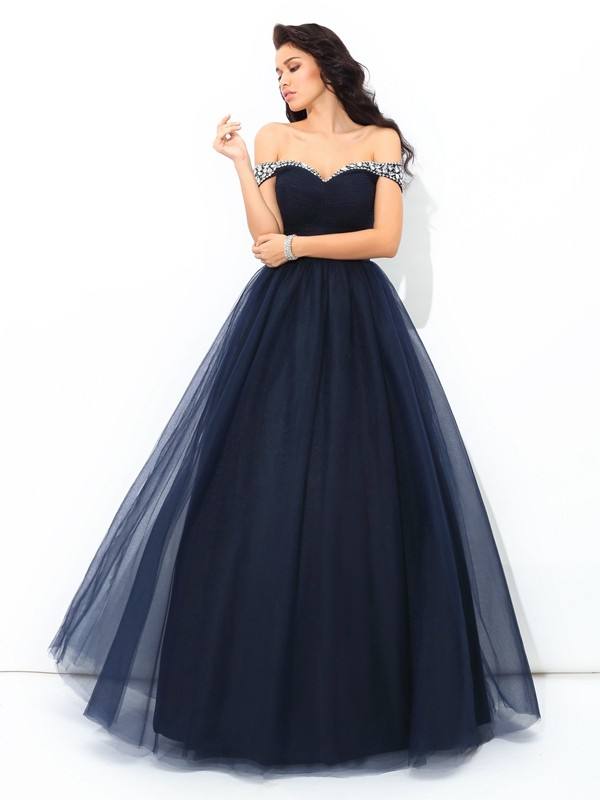 Ball Gown Off-the-Shoulder Sleeveless Floor-Length Net Quinceanera Dress with Beading