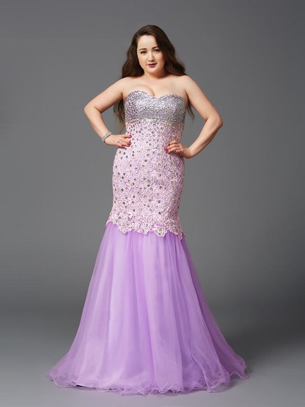 Trumpet/Mermaid Sweetheart Sleeveless Sweep/Brush Train Net Plus Size Prom Dress with Beading
