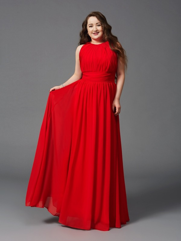 A-Line/Princess Jewel Sleeveless Floor-Length Chiffon Plus Size Prom Dress with Ruched