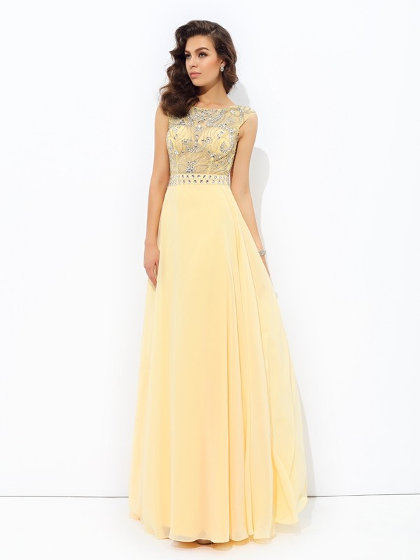 A-Line/Princess Sleeveless Bateau Chiffon Floor-Length Prom Dress with Beading