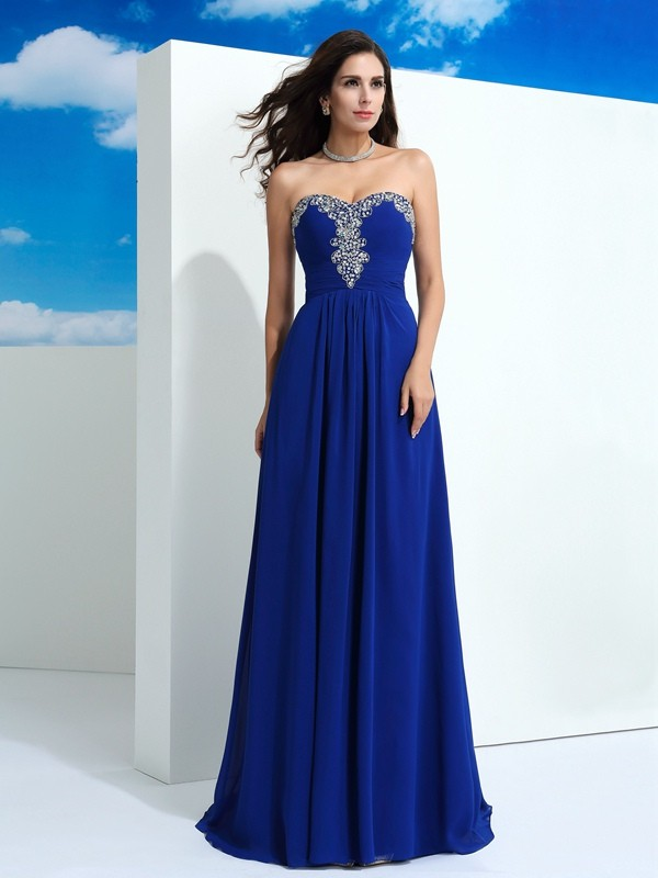 A-Line/Princess Sleeveless Sweetheart Sweep/Brush Train Chiffon Prom Dress with Beading