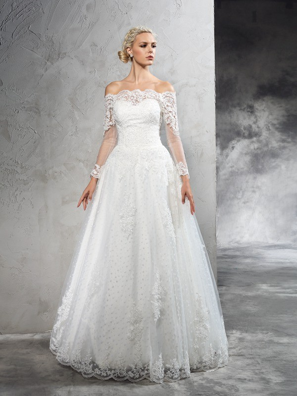 Ball Gown Off-the-Shoulder Long Sleeves Floor-Length Net Wedding Dress with Lace