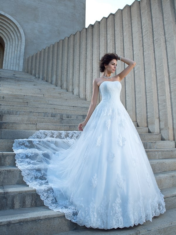Ball Gown Strapless Satin Chapel Train Wedding Dress with Applique