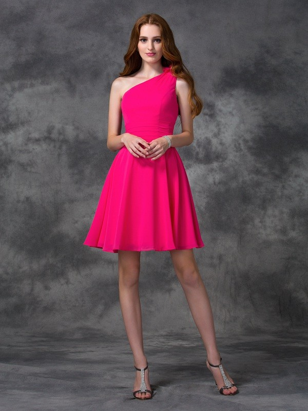 A-line One-Shoulder Short/Mini Chiffon Cocktail Dress with Hand-Made Flower