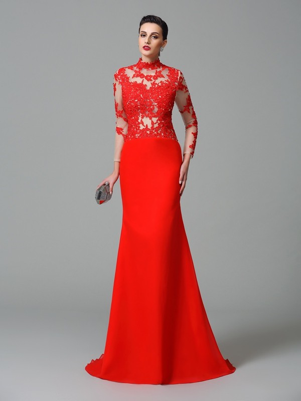 Trumpet/Mermaid High Neck Long Sleeves Sweep/Brush Train Chiffon Evening Dress with Applique