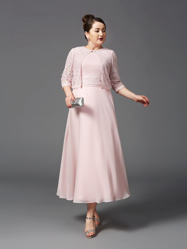 A-Line/Princess Jewel Sleeveless Ankle-Length Chiffon Plus Size Mother Of The Bride Dress with Lace