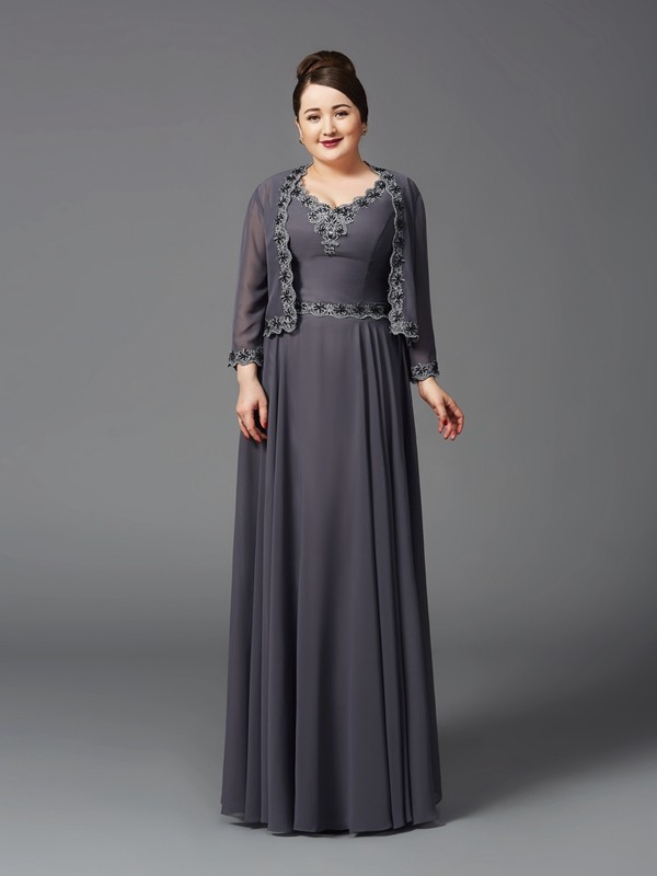 A-Line/Princess Straps Sleeveless Floor-Length Chiffon Plus Size Mother Of The Bride Dress with Lace