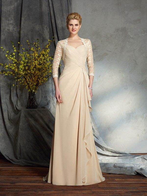 A-Line/Princess Sweetheart 3/4 Sleeves Chiffon Sweep/Brush Train Mother Of The Bride Dress with Lace