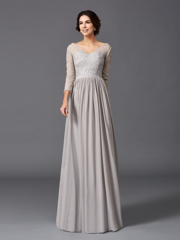A-Line/Princess V-neck 3/4 Sleeves Floor-Length Chiffon Mother Of The Bride Dress with Ruffles