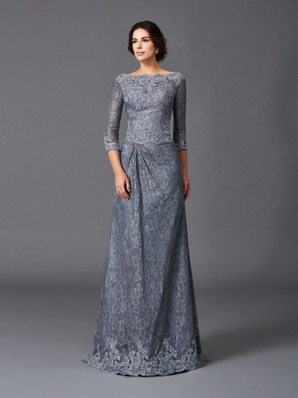 A-Line/Princess Bateau 3/4 Sleeves Sweep/Brush Train Net Mother Of The Bride Dress with Lace
