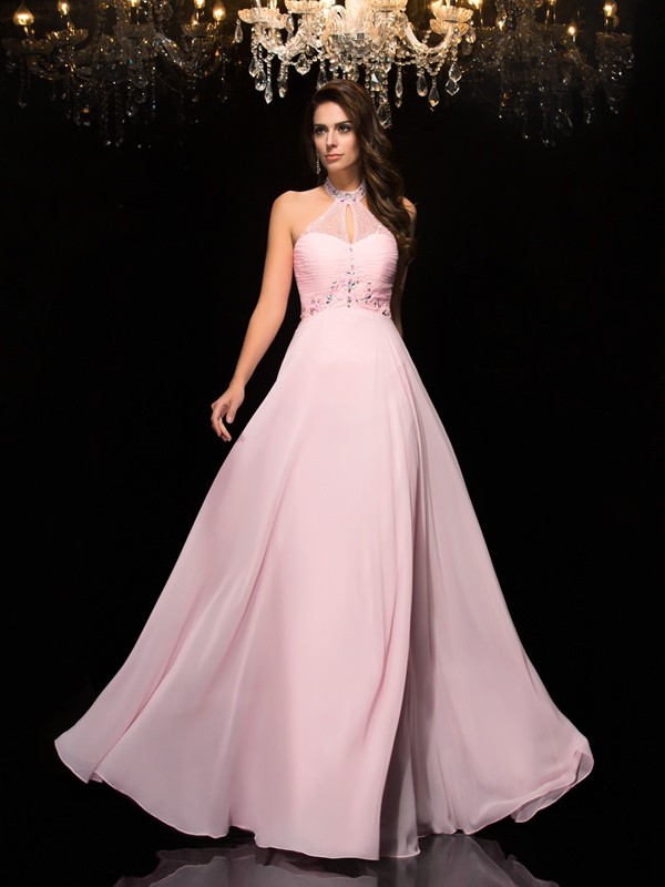 A-Line/Princess Halter Sleeveless Floor-Length Chiffon Prom Dress with Beading