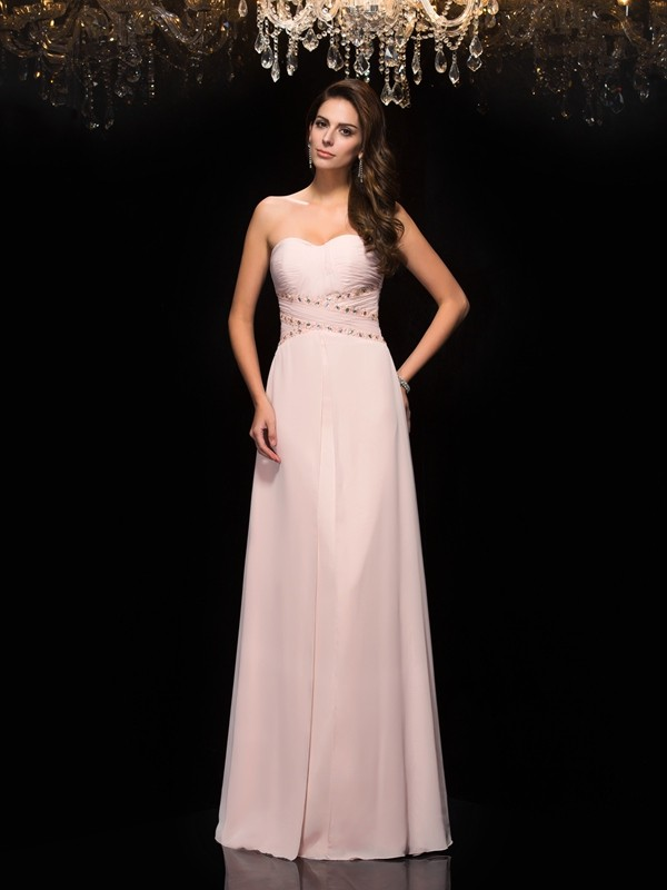 A-Line/Princess Sweetheart Sleeveless Chiffon Floor-Length Prom Dress with Beading